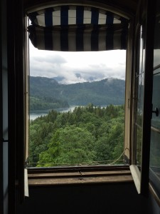 The view from inside the Hohenschwangau Castle