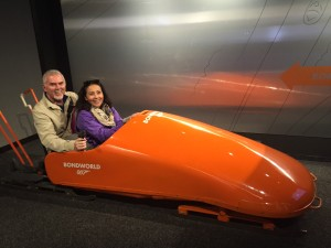 Mike and Veonica in Bond Bobsled