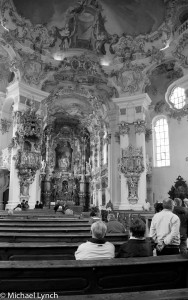 Rococo Church interior black and white image
