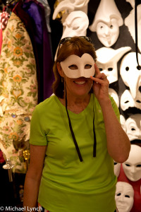 Sharon trying on masks