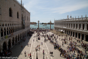 Doges Palace and Grand Canal view from the top of San Marcos